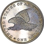 USA One Dollar (Gobrecht Dollar Pattern (Copper)) . UNITED STATES OF AMERICA . ONE DOLLAR coin reverse