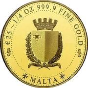 Malta Twenty Five Euro (Melita - National Personification) MALTA € 25 1/4 OZ 999.9 FINE GOLD coin obverse