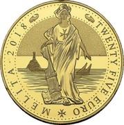 Malta Twenty Five Euro (Melita - National Personification) TWENTY FIVE EURO MELITA 2018 coin reverse