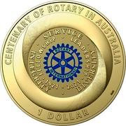Australia 1 Dollar Centenary of Rotary in Australia 2021 SERVICE INTEGRITY DIVERSITY FELLOWSHIP LEADERSHIP 1921 2021 CENTENARY OF ROTARY IN AUSTRALIA 1 DOLLAR SMS coin reverse