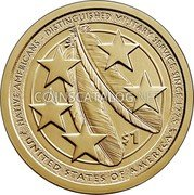 USA 1 Dollar (Native Americans) NATIVE AMERICANS – DISTINGUISHED MILITARY SERVICE SINCE 1775 DW $1 JFM UNITED STATES OF AMERICA coin reverse