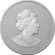 Australia 1 Dollar Outback Majesty. Frosted 2021 ELIZABETH II AUSTRALIA 1 DOLLAR coin obverse