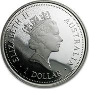 Australia 1 Dollar The Australian Kookaburra 1996 P Proof KM# 1330 ELIZABETH II AUSTRALIA 1 DOLLAR coin obverse