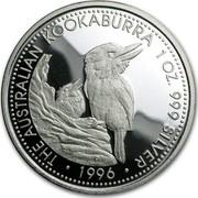 Australia 1 Dollar The Australian Kookaburra 1996 P Proof KM# 1330 THE AUSTRALIAN KOOKABURRA 1 OZ. 999 SILVER coin reverse
