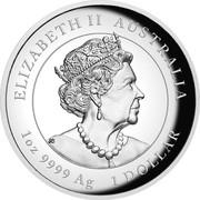 Australia 1 Dollar Year of the Ox. High Relief 2021P Proof High Relief ELIZABETH II AUSTRALIA JC 1 OZ 9999 AG 1 DOLLAR coin obverse