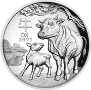 Australia 1 Dollar Year of the Ox. High Relief 2021P Proof High Relief 牛 OX 2021 P IJ coin reverse