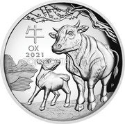 Australia 1 Dollar (Year of the Ox. High Relief) 牛 OX 2021 P IJ coin reverse