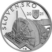 Slovakia 10 Euro (100th Anniversary of the Underground Hydroelectric Power plant in Kremnica) 20 21 N SLOVENSKO MK coin obverse