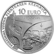 Slovakia 10 Euro (100th Anniversary of the Underground Hydroelectric Power plant in Kremnica) 10 EURO 1921 2021 PODZEMNÁ VODNÁ ELEKTRÁREŇ KREMINCA coin reverse
