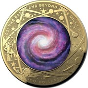 Australia 100 Dollars The Milky Way 2021 2021 THE EARTH AND BEYOND THE MILKY WAY 100 DOLLARS coin reverse