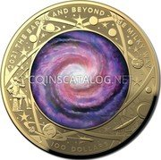 Australia 100 Dollars (The Milky Way) 2021 THE EARTH AND BEYOND THE MILKY WAY 100 DOLLARS coin reverse