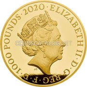 UK 1000 Pounds (David Bowie) ELIZABETH II D G REG F D 1000 POUNDS 2020 J.C coin obverse