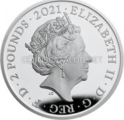 UK 2 Pounds (50th Anniversary of Mr. Men Little Miss) ELIZABETH II D G REG F D 2 POUNDS 2021 JC coin obverse