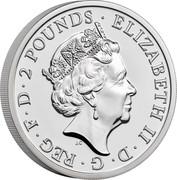 UK 2 Pounds Britannia`s bust 2021 ELIZABETH II D G REG F D 2 POUNDS JC coin obverse