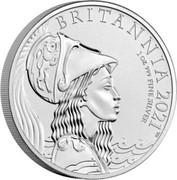 UK 2 Pounds Britannia`s bust 2021 BRITANNIA 2021 1 OZ 999 FINE SILVER coin reverse