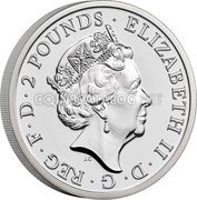 UK 2 Pounds (Britannia`s bust) ELIZABETH II D G REG F D 2 POUNDS JC coin obverse