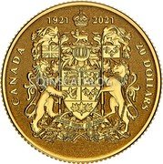 Canada 20 Dollars (100th Anniversary of Canada's Coat of Arms) CANADA 20 DOLLARS 1921 2021 coin reverse