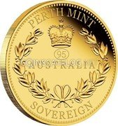 Australia 25 Dollars (95 Anniversary of Queen Elizabeth II) AUSTRALIA PERTH MINT SOVEREGN 95 coin reverse
