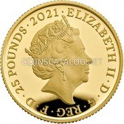 UK 25 Pounds (50th Anniversary of Little Miss) ELIZABETH II D G REG F D 25 POUNDS 2021 JC coin obverse