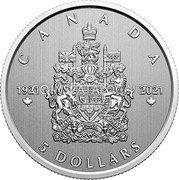 Canada 5 Dollars (100th Anniversary of the Arms of Canada) CANADA 5 DOLLARS 1921 2021 coin reverse