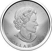 "Canada 5 Dollars (Maple Leaf - Winnipeg ""W"") ELIZABETH II 5 DOLLARS 2021 coin obverse"