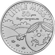 UK 5 Pounds (50 Year of Little Miss) LITTLE MISS 50 YEARS ROGER HARGREAVES coin reverse