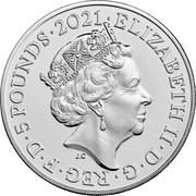 UK 5 Pounds 50th Anniversary of Little Miss. Colored 2021 Brilliant Uncirculated (BU) ELIZABETH II D G REG F D 5 POUNDS 2021 J.C coin obverse