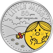 UK 5 Pounds 50th Anniversary of Little Miss. Colored 2021 Brilliant Uncirculated (BU) LITTLE MISS 50 YEARS ROGER HARGREAVES coin reverse