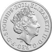 UK 5 Pounds 50th Anniversary of Mr. Men. Colored 2021 Brilliant Uncirculated (BU) ELIZABETH II D G REG F D 5 POUNDS 2021 J.C coin obverse