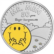 UK 5 Pounds 50th Anniversary of Mr. Men. Colored 2021 Brilliant Uncirculated (BU) MR. MEN 50 YEARS ROGER HARGREAVES coin reverse