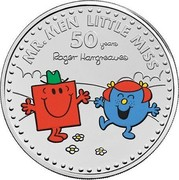 UK 5 Pounds 50th Anniversary of Mr. Men Little Miss. Colored 2021 Brilliant Uncirculated (BU) MR. MEN LITTLE MISS 50 YEARS ROGER HARGREAVES coin reverse