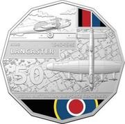 Australia 50 Cents 100 Years RAAF - Avro Lancaster 2021 AVRO 1940 - 1945 LANCASTER 50 ROYAL AUSTRALIAN AIR FORCE CENTENARY coin reverse