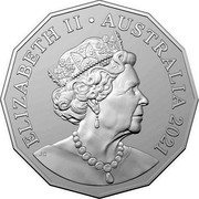Australia 50 Cents 100 Years RAAF - Bell Iroquois Helicopter 2021 ELIZABETH II AUSTRALIA 2021 50 CENTS JC coin obverse