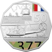 Australia 50 Cents 100 Years RAAF - Bell Iroquois Helicopter 2021 BELL 1962 - 1989 IROQUOIS 50 ROYAL AUSTRALIAN AIR FORCE CENTENARY coin reverse