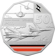 Australia 50 Cents 100 Years RAAF - General Dynamics F-111 2021 GENERAL DYNAMICS 1973-2010 50 F-111 ROYAL AUSTRALIAN AIR FORCE CENTENARY coin reverse