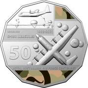 Australia 50 Cents 100 Years RAAF - Lockheed C-130 Hercules 2021 LOCKHEED 1958-2021 C-130 HERCULES 50 ROYAL AUSTRALIAN AIR FORCE CENTENARY coin reverse