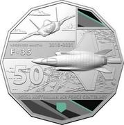 Australia 50 Cents 100 Years RAAF - Lockheed Martin F-35 Joint Strike 2021 LOCKHEED MARTIN 2018-2021 F-35 50 ROYAL AUSTRALIAN AIR FORCE CENTENARY coin reverse