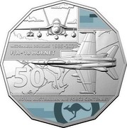 Australia 50 Cents 100 Years RAAF - McDonnell Douglas F/A-18 Hornet 2021 MCDONNELL DOUGLAS 1985-2021 F/A - 18 HORNET 50 ROYAL AUSTRALIAN AIR FORCE CENTENARY coin reverse
