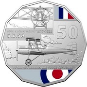 Australia 50 Cents 100 Years RAAF - Royal Aircraft Factory S.E.5A 2021 ROYAL AIRCRAFT FACTORY 1917 - 1928 S.E.5A 50 ROYAL AUSTRALIAN AIR FORCE CENTENARY coin reverse