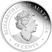 Australia 50 Cents Dreaming Down Under Kangaroo 2021 P ELIZABETH II 2021 AUSTRALIA 50 CENTS JC coin obverse