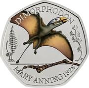 UK 50 Pence Dimorphodon. Coloured 2021 DIMORPHODON MARY ANNING 1828 coin reverse
