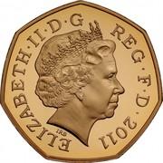 UK 50 Pence XXX Olympiad - Rowing 2011 Proof ELIZABETH II D G REG F D 2011 IRB coin obverse
