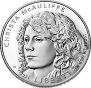 USA One Dollar (Christa McAuliffe) CHRISTA MCAULIFFE 2021 LIBERTY IN GOD WE TRUST coin obverse