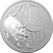 Australia 5 Dollars Year of the Ox. Frosted finish 2021 YEAR OF THE OX 牛 1 OZ 999 AG coin reverse