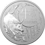 Australia 5 Dollars (Year of the Ox. Frosted finish) YEAR OF THE OX 牛 1 OZ 999 AG coin reverse