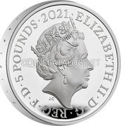 UK 5 Pounds (150th Anniversary of the Royal Albert Hall. Piedfort) ELIZABETH II D G REG F D 5 POUNDS 2021 JC coin obverse