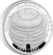 UK 5 Pounds (150th Anniversary of the Royal Albert Hall. Piedfort) ROYAL ALBERT HALL 1871 2021 AD coin reverse