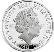 UK 5 Pounds (150th Anniversary of the Royal Albert Hall) ELIZABETH II D G REG F D 5 POUNDS 2021 JC coin obverse