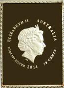 Australia 50 Cents Centenary of George V Stamps 2014 Stamp coin set ELIZABETH II AUSTRALIA 1/2 OZ 999 SILVER 2014 50 CENTS coin obverse