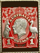 Australia 50 Cents Centenary of George V Stamps 2014 Stamp coin set AUSTRALIA POSTAGE 1 ONE PENNY 1 coin reverse
